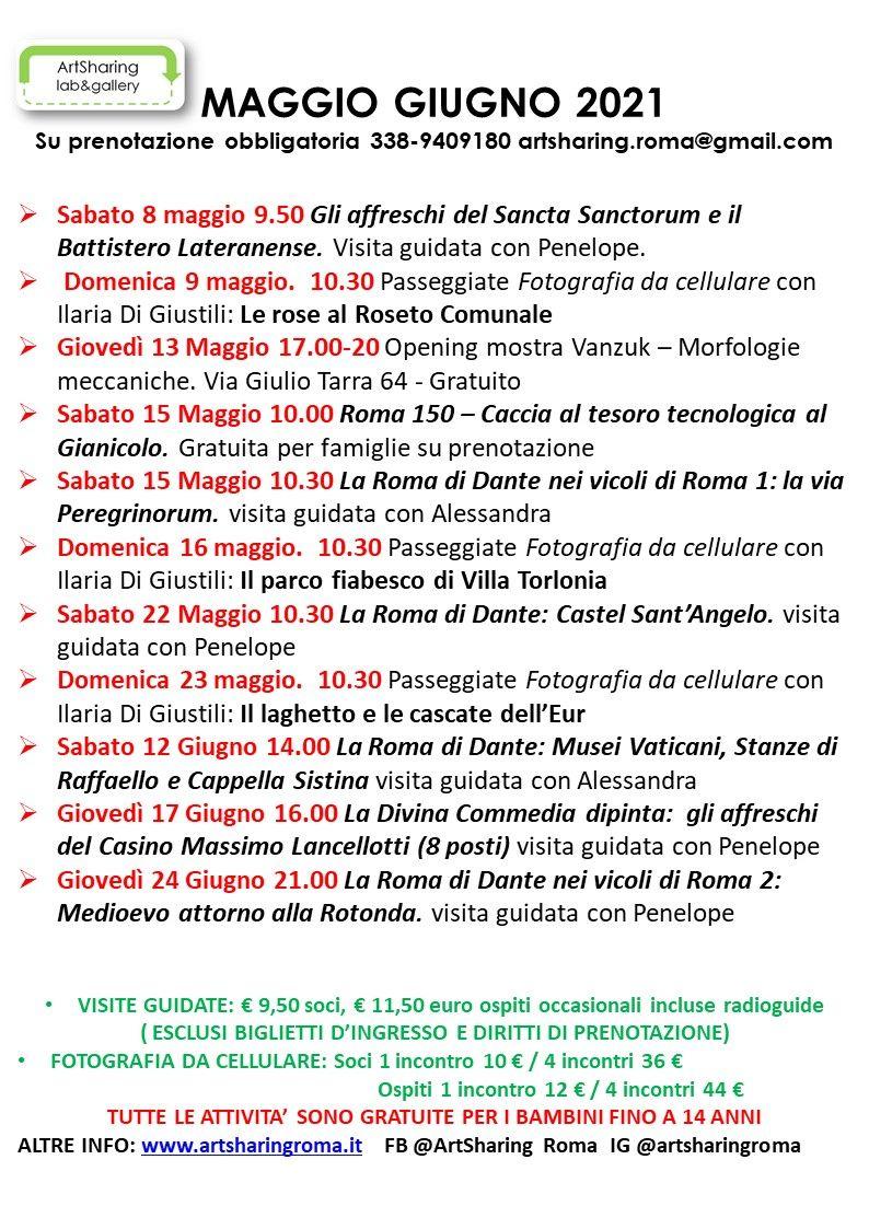 programma di maggio e giugno 2021 delle attività di Artsharing Roma